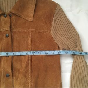 Jackets & Coats - Vintage 80s Suede/Wool knit snap front jacket.